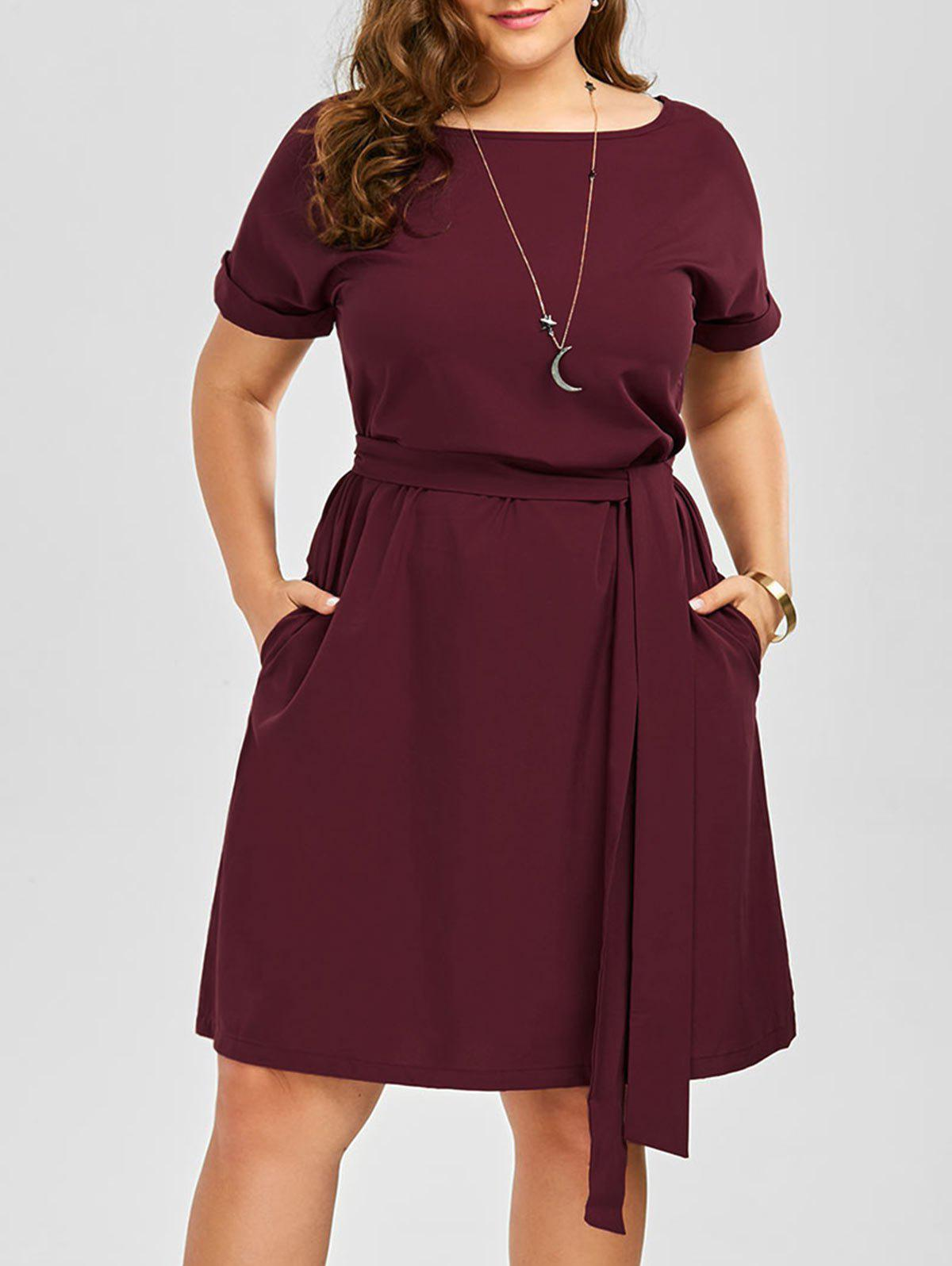 Plus Size Belted Knee Length A Line Dress With PocketWOMEN<br><br>Size: 5XL; Color: WINE RED; Style: Work; Material: Cotton Blend,Polyester; Silhouette: A-Line; Dresses Length: Knee-Length; Neckline: Round Collar; Sleeve Length: Short Sleeves; Embellishment: Pockets; Pattern Type: Solid Color; With Belt: Yes; Season: Spring,Summer; Weight: 0.3500kg; Package Contents: 1 x Dress 1 x Belt;