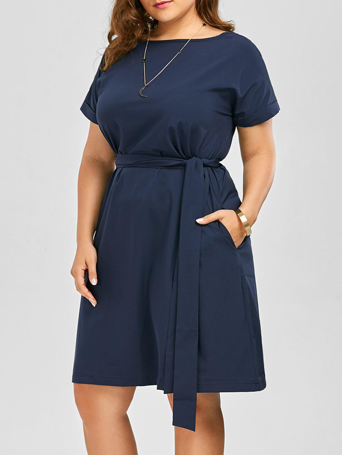 Best Plus Size Belted Knee Length A Line Dress With Pocket