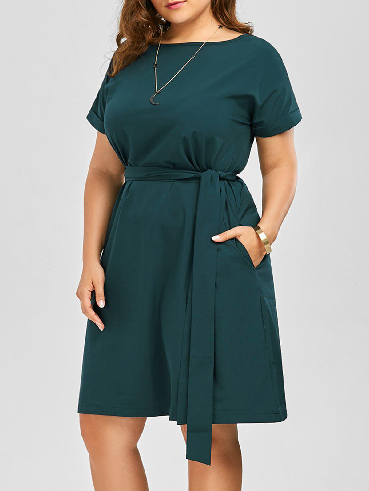 Plus Size Belted Knee Length A Line Dress With PocketWOMEN<br><br>Size: 3XL; Color: GREEN; Style: Work; Material: Cotton Blend,Polyester; Silhouette: A-Line; Dresses Length: Knee-Length; Neckline: Round Collar; Sleeve Length: Short Sleeves; Embellishment: Pockets; Pattern Type: Solid Color; With Belt: Yes; Season: Spring,Summer; Weight: 0.3500kg; Package Contents: 1 x Dress 1 x Belt;