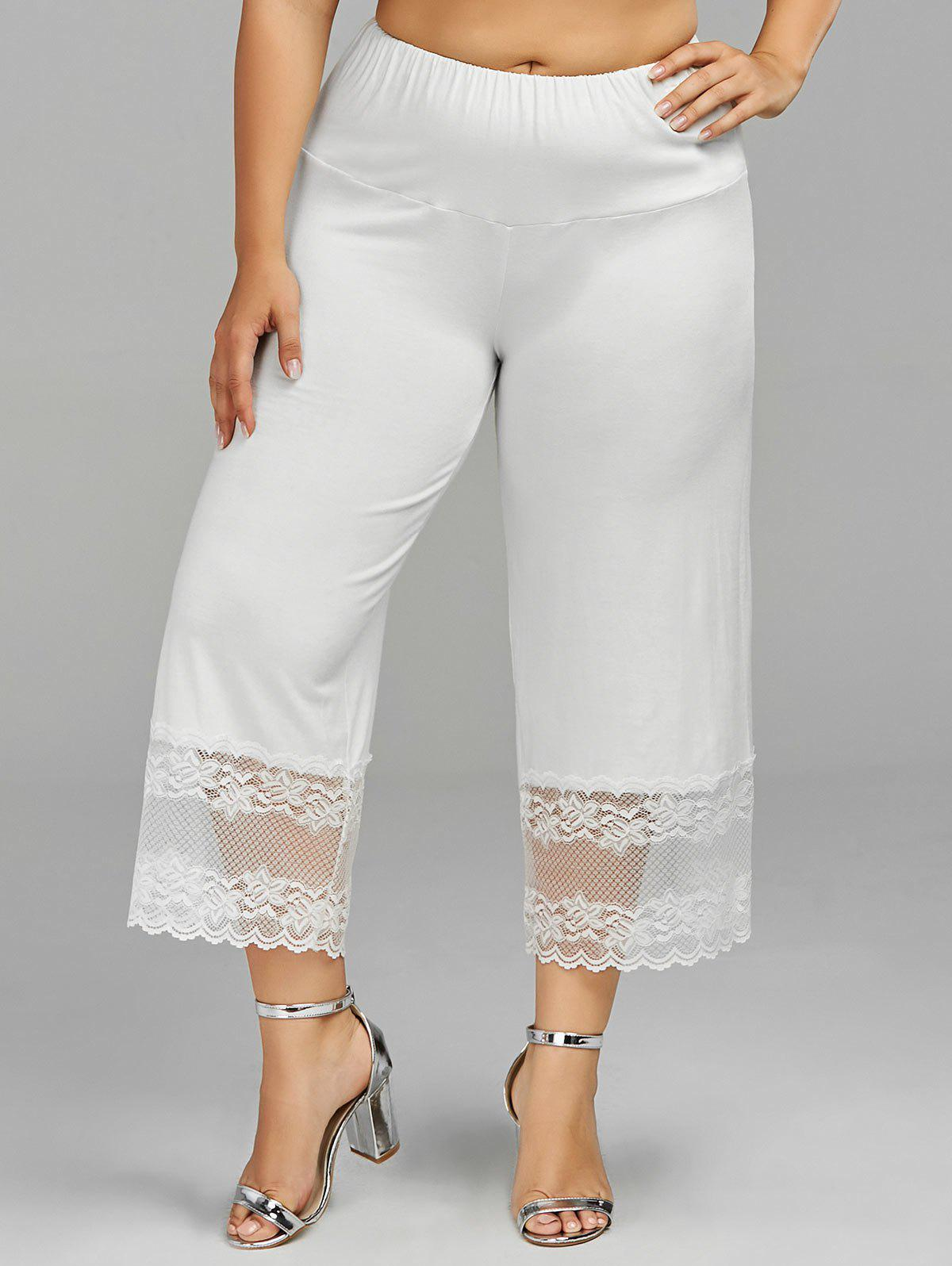 Plus Size Lace Trim Wide Leg PantsWOMEN<br><br>Size: 2XL; Color: WHITE; Style: Casual; Length: Capri; Material: Polyester; Fit Type: Loose; Waist Type: Mid; Closure Type: Elastic Waist; Pattern Type: Solid; Pant Style: Wide Leg Pants; With Belt: No; Weight: 0.2700kg; Package Contents: 1 x Pants;