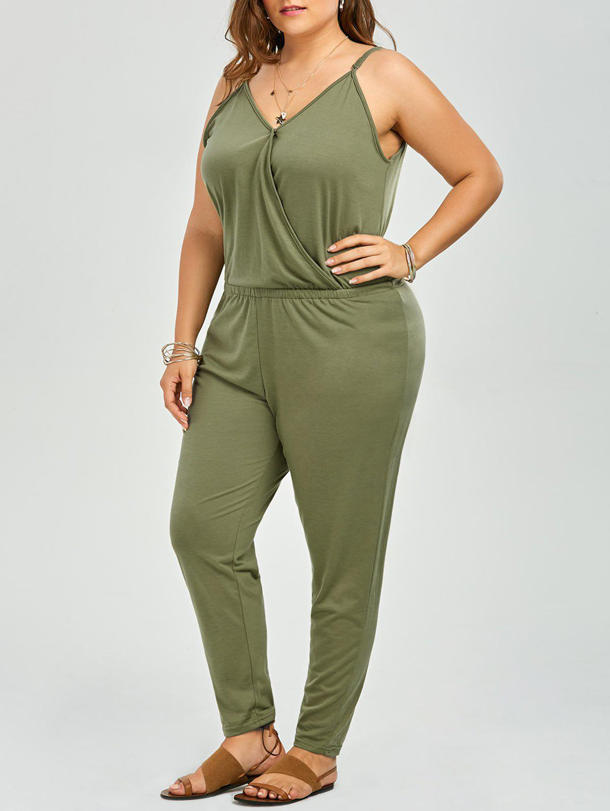 Hot V Neck Plus Size Spaghetti Strap Jumpsuit