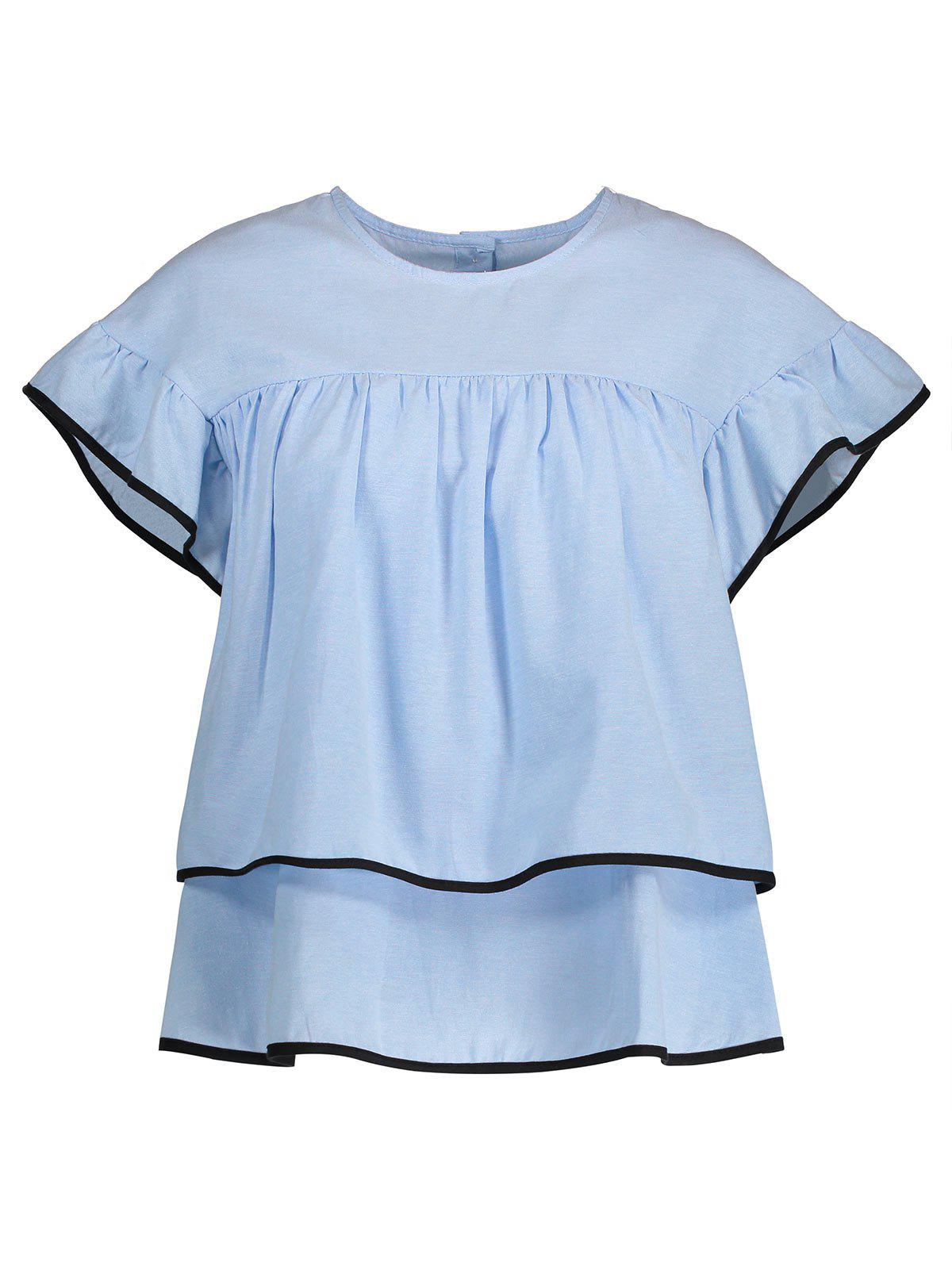 Store Ruffled Contrast Piped Blouse