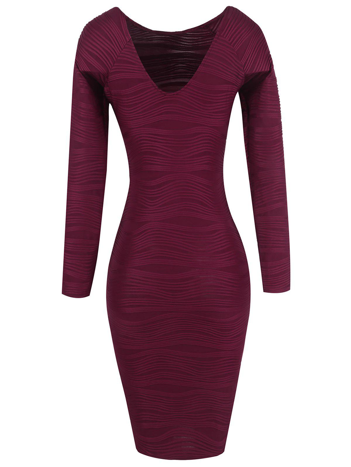 Long Sleeve Ribbed Bodycon Dress 213163807
