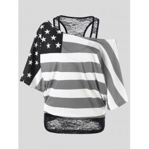 Skew Collar American Flag Plus Size T-Shirt - Black - 5xl