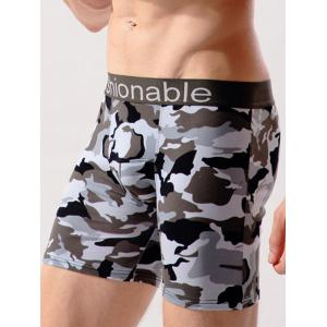 Stretch Camo Swimming Trunks - Gray White Camouflage - 3xl