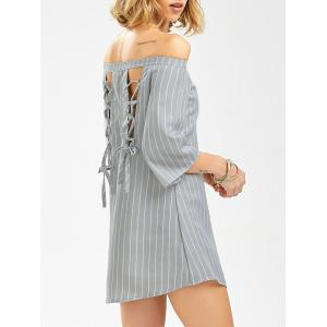 Off The Shoulder Lace Up Striped Shift Dress with Sleeves - Stripe - S