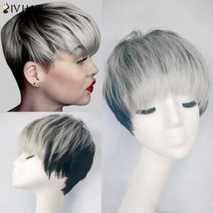 Siv Hair Full Bang Straight Short Pixie Colormix Human Hair Wig - Grey White