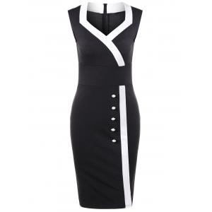 Sweetheart Neck Tight Pencil Fitted Sheath Dress - Black - Xl