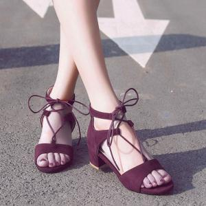 Tie Up Mid Heel Sandals -