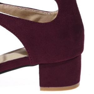 Tie Up Mid Heel Sandals - WINE RED 40