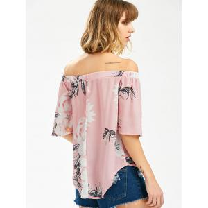 Off The Shoulder Floral High Low Top - PINK S