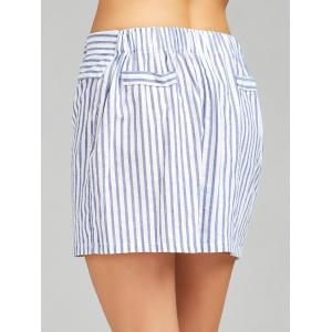 High Waist Stripe Skirt - STRIP PATTERN L