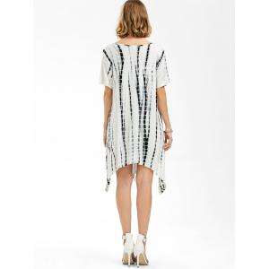 V Neck Asymmetrical Tie Dye T-Shirt Dress - WHITE XL
