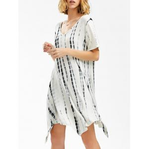 V Neck Asymmetrical Tie Dye T-Shirt Dress