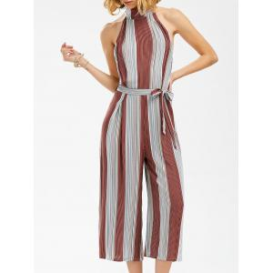 Backless Stripe Wide Leg Jumpsuit