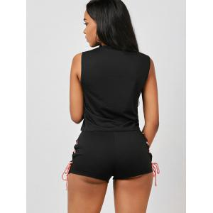 Sleeveless Lace Up Top and Mini Shorts - BLACK S