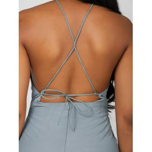 Open Back Halter Romper - BLUE GRAY M