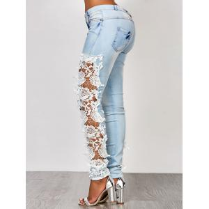 Sexy Hollow Out Lace Spliced Bodycon Pencil Jeans For Women - AZURE S
