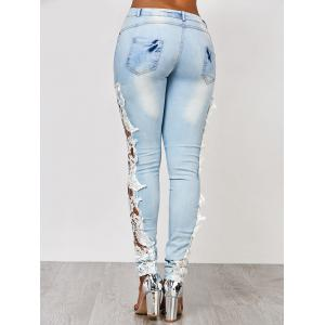 Lace Insert Washed Skinny Jeans - AZURE L