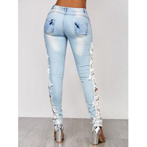 Lace Insert Washed Skinny Jeans - AZURE XL
