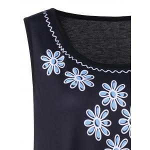 Plus Size Sleeveless Floral and Paisley Dress - BLACK/BLUE 5XL