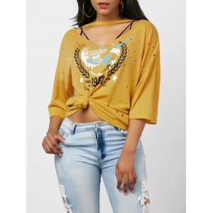 Oversized Graphic Distressed Choker T-Shirt