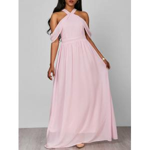 Cold Shoulder Long Chiffon Flounce Halter Formal Maxi Dress