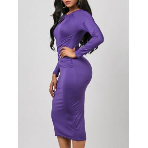 Keyhole Midi Ruched Long Sleeve Bodycon Dress - Purple - M