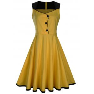 Sleeveless Button Embellished Vintage Dress - Yellow - S