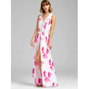 Floral Print Overlay Backless Maxi Romper -
