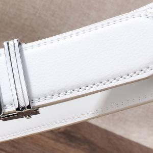 Rhinestone Alloy Wolf Carving Automatic Buckle Belt - SILVER AND WHITE 130CM