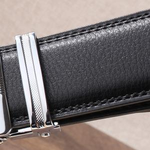 Rhinestone Alloy Wolf Carving Automatic Buckle Belt - SILVER AND BLACK 110CM
