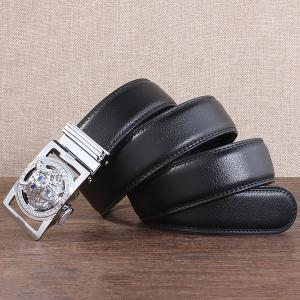 Rhinestone Alloy Wolf Carving Automatic Buckle Belt - SILVER AND BLACK 130CM