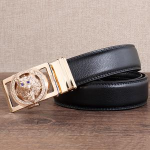 Rhinestone Alloy Wolf Carving Automatic Buckle Belt - BLACK AND GOLDEN 110CM