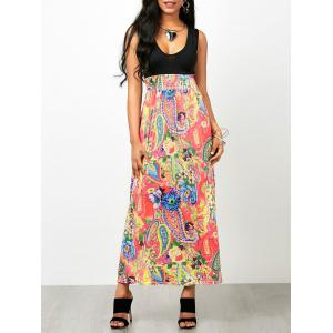Paisley Floral Empire Waist Sleeveless Maxi Dress