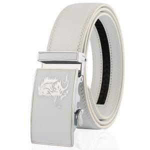 Automatic Buckle Polished Horse Head Pattern Belt - White - 130cm