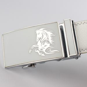 Automatic Buckle Polished Horse Head Pattern Belt - WHITE 130CM