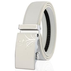 Polishing Orchid Pattern Auto Buckle Belt - White - 110cm