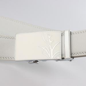 Polishing Orchid Pattern Auto Buckle Belt - WHITE 110CM