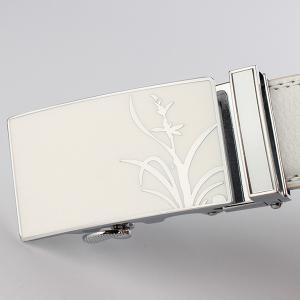 Polishing Orchid Pattern Auto Buckle Belt - WHITE 130CM