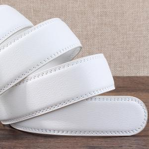 Auto Buckle Leopard Head Carved Belt - SILVER AND WHITE 110CM