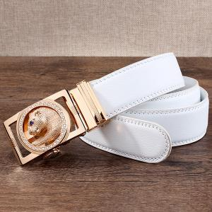 Auto Buckle Leopard Head Carved Belt - WHITE AND GOLDEN 120CM