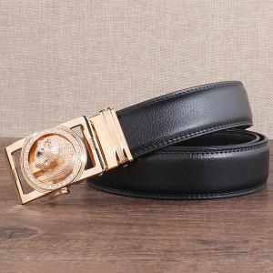 Auto Buckle Leopard Head Carved Belt - BLACK AND GOLDEN 110CM