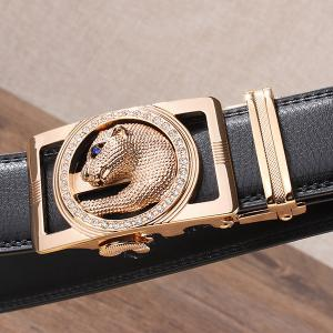 Auto Buckle Leopard Head Carved Belt -