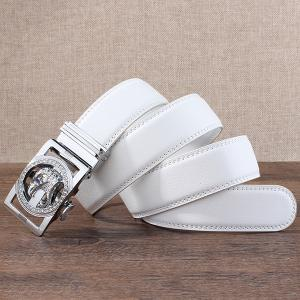 Rhinestone Eagle Head Carving Auto Buckle Belt - SILVER AND WHITE 120CM