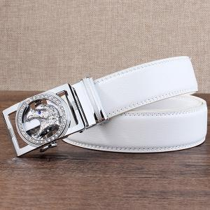 Rhinestone Eagle Head Carving Auto Buckle Belt - SILVER AND WHITE 130CM
