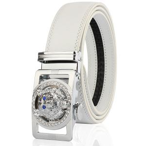 Rhinestone Alloy Wolf Carving Automatic Buckle Belt - Silver And White - 110cm