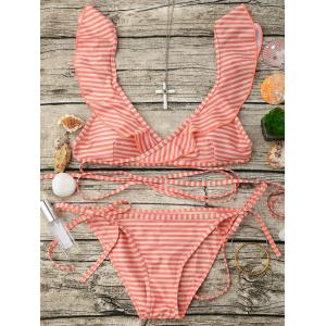 Ruffle Stripe Wrap String Bikini Set