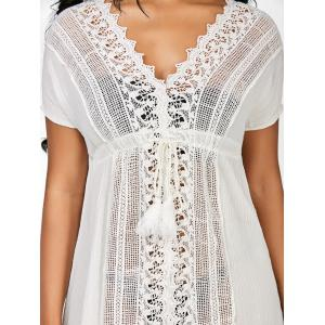 Crochet Insert Drawstring Beach Tunic Cover-Up -