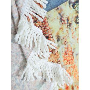Fringe Round Landscape Print Beach Throw -